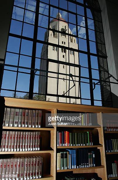 Hoover Tower is seen through a window at the Cecil H Green Library on the Stanford University Campus December 17 2004 in Stanford California Google...
