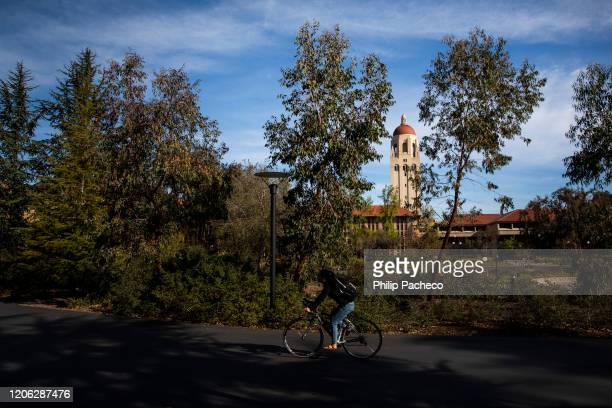 Hoover Tower looms during a quiet morning at Stanford University on March 9, 2020 in Stanford, California. Stanford University announced that classes...