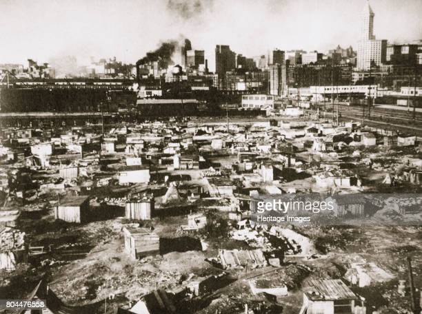 A 'Hooverville' on waterfront of Seattle Washington USA Great Depression March 1933 Grim collections of shacks on vacant lots were cruelly called...