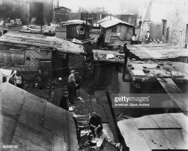 A 'Hooverville' or shanty town in the USA during the Great Depression circa 1933 The towns were named after US President Herbert J Hoover who was...