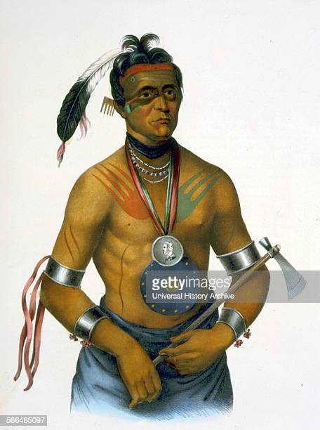 HooWanNeKa a Winnebago chief holding a tomahawk The Winnebago tribe are Siouan speaking and are native to Wisconsin Minnesota Iowa and Illinois