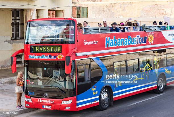 Hop on Hop off tourist bus Red and blue two floored Habana Bus tour The service visits most landmarks in the city with a guide the ticket is 10 CUC...