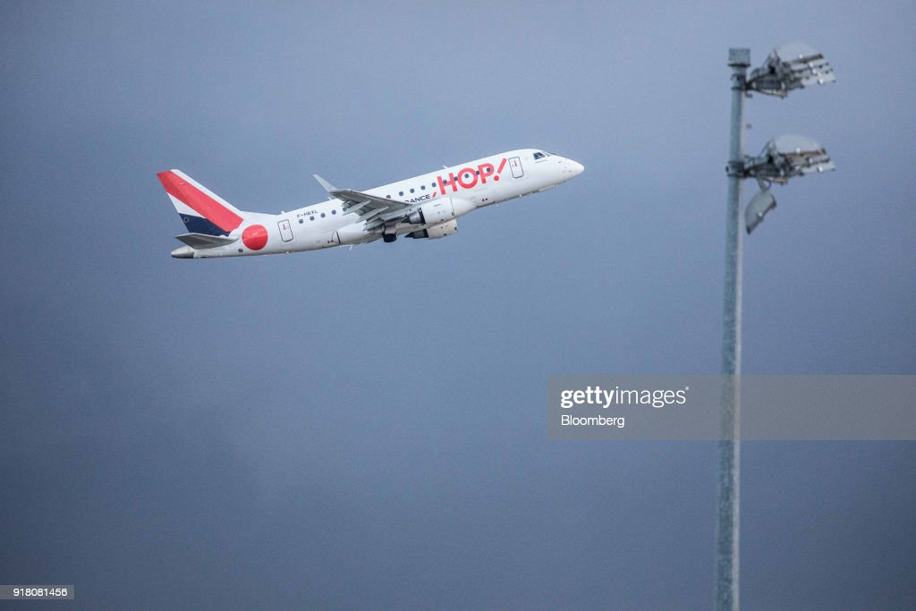 A Hop! passenger aircraft, operated by Air France-KLM Group, takes off from Charles de Gaulle airport, operated by Aeroports de Paris, in Paris, France, on Monday, Feb. 12, 2018. Air France will report its full year earnings on Feb 16. Photographer: Christoph Morin/Bloomberg via Getty Images