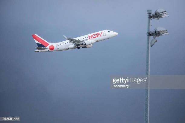A Hop passenger aircraft operated by Air FranceKLM Group takes off from Charles de Gaulle airport operated by Aeroports de Paris in Paris France on...