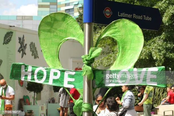 A hope and love sign seen at the memorial site during the 3rd anniversary of the Grenfell fire Seventytwo people were killed in the blaze that burnt...