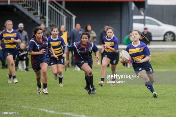 Hope Garner from Tauranga Girls College running free during the Bethlehem Coachlines Baywide Secondary School Rugby match between Tauranga Girls...