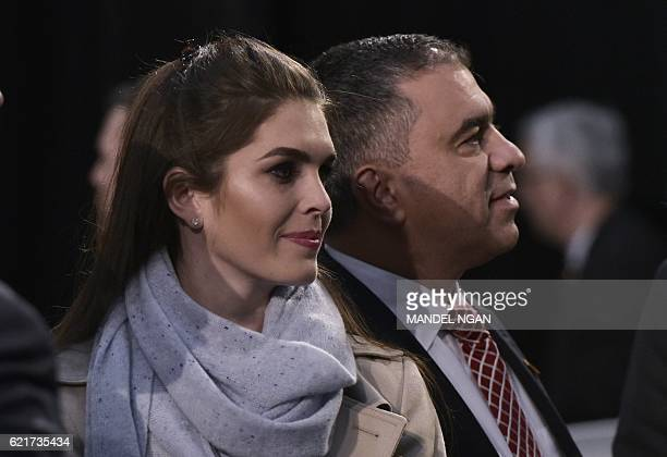 Hope Hicks and David Bossie Trump deputy campaign manager watch as Republican presidential nominee Donald Trump addresses the final rally of his 2016...