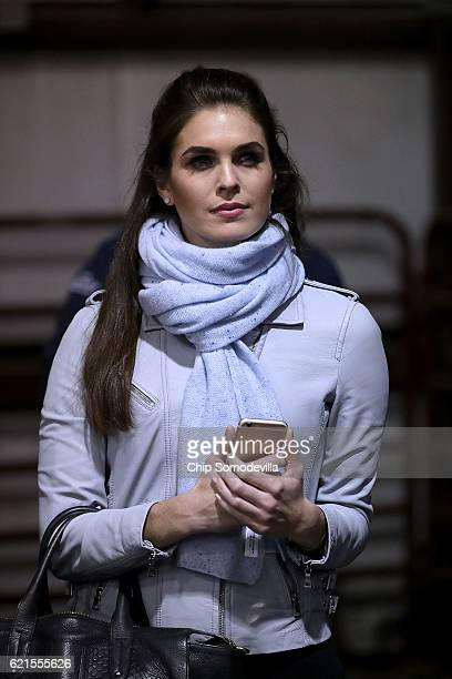 Hope Hicks campaign spokesperson for Republican presidential nominee Donald Trump attends a campaign rally at the Loudoun County Fairgrounds November...