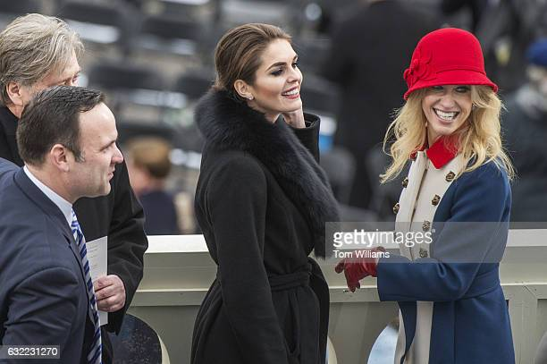 Hope Hicks center Kellyanne Conway Dan Scavino lower left and Stephen Bannon aides to President Donald J Trump are seen on the West Front of the...