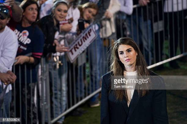 Hope Hicks communications aide for Republican presidential candidate Donald Trump attends a campaign rally at Madison City Schools Stadium in Madison...