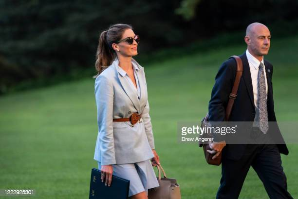 Hope Hicks, Counselor to President Donald Trump, walks to the White House after exiting Marine One on the South Lawn on June 25, 2020 in Washington,...
