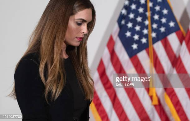 Hope Hicks, counselor to US President Donald Trump, arrives for the weekly Republican Senate policy luncheon attended by Trump on Capitol Hill in...