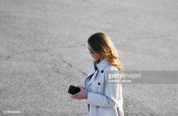 Hope Hicks is seen as US President Donald Trump speaks during a rally at Dayton International Airportin Dayton, Ohio September 21, 2020.