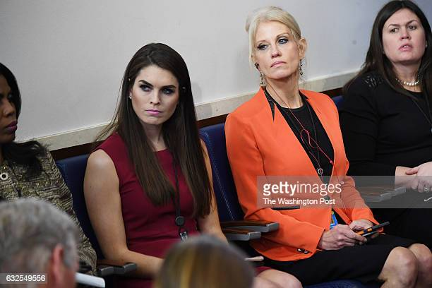 Hope Hicks left center and Kellyanne Conway right center attend a press briefing by White House Press Secretary Sean Spicer on Monday January 23 2017...