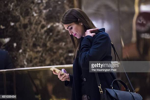 Hope Hicks press secretary for Presidentelect Donald Trump's campaign exits an elevator in the lobby at Trump Tower in New York NY on Wednesday Jan...