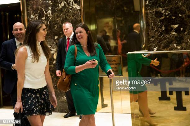 Hope Hicks White House Director of Strategic Communications and White House Press Secretary Sarah Huckabee Sanders walk through the lobby at Trump...