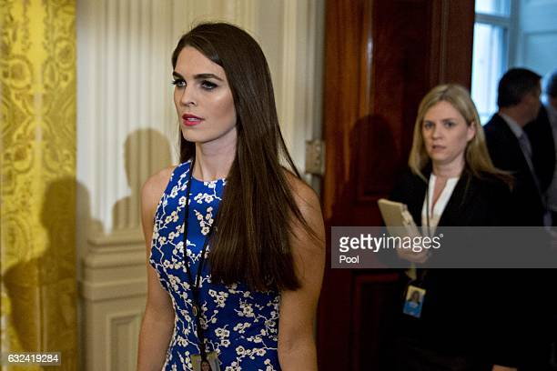 Hope Hicks, White House director of strategic communications, arrives to a swearing in ceremony of White House senior staff in the East Room of the...