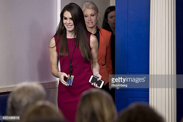 Hope Hicks White House director of strategic communications center and Kellyanne Conway senior advisor to US President Donald Trump arrive before a...