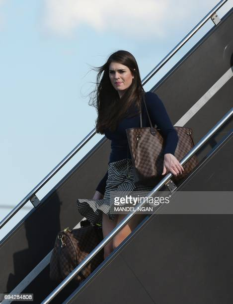 Hope Hicks White House Director of Strategic Communications steps off Air Force One upon arrival at Newark Liberty Airport in Newark New Jersey on...