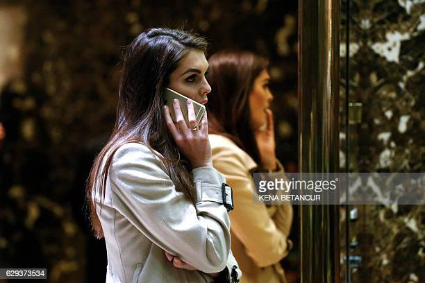 Hope Hickscommunications consultant with the Trump Organization speaks on the phone at Trump Tower December 12 2016 in New York / AFP / KENA BETANCUR