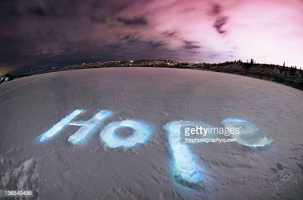 Hope light painting in snow