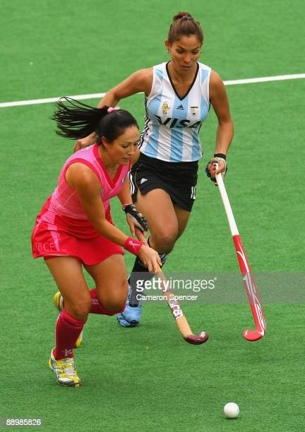 Hope Munro of the Hockyroos contests the ball with Soledad Garcia of Argentina during the Women's Hockey Champions Trophy match between the...