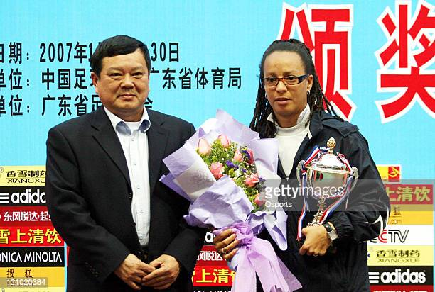 Hope Powell gets the Best Coach after the FourNations Women's Tournament match between Germany and England in Guangzhou China on January 30 2007 The...