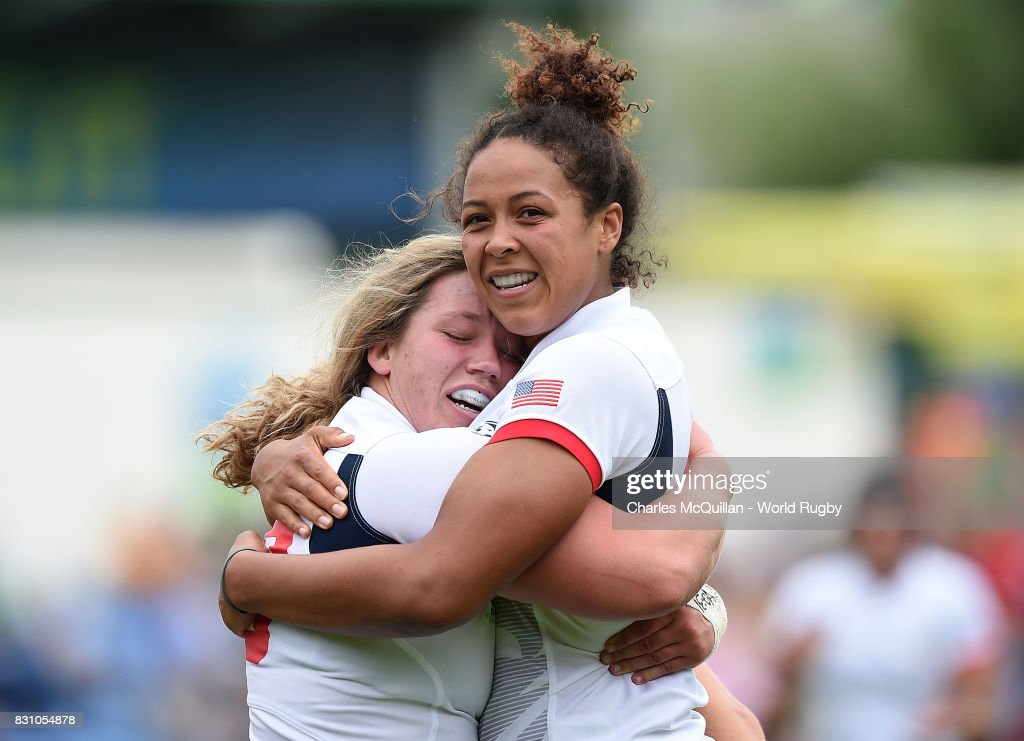 Hope Rogers of The USA (L) celebrates after scoring a try during the Women's Rugby World Cup 2017 match between USA and Spain on August 13, 2017 in Dublin, Ireland.