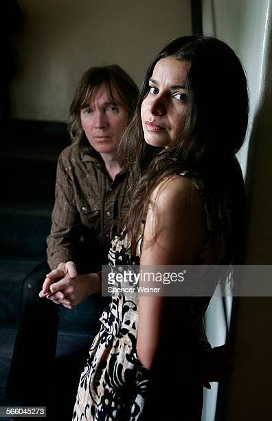 Hope Sandovalright and Colm O C osoig photographed at Hollywood Forever Cemetery before the release of their new album Through The Devil Softly on...