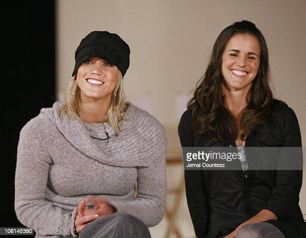 Hope Solo and Brandi Chastain during Press Conference to Announce the Launch of Nike Tailwind Product Line at Lotus Space in New York City New York...