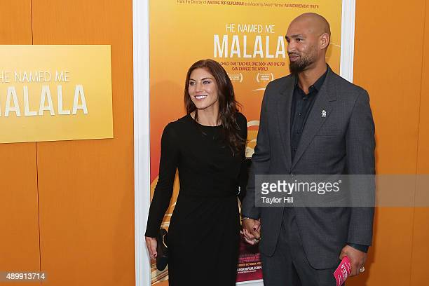 Hope Solo and Jerramy Stevens attend the He Named Me Malala premiere at Ziegfeld Theater on September 24 2015 in New York City