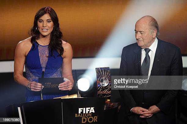 Hope Solo and Joseph Blatter FIFA president announce Abby Wambach of United States during the FIFA womens player of the year trophy during the FIFA...