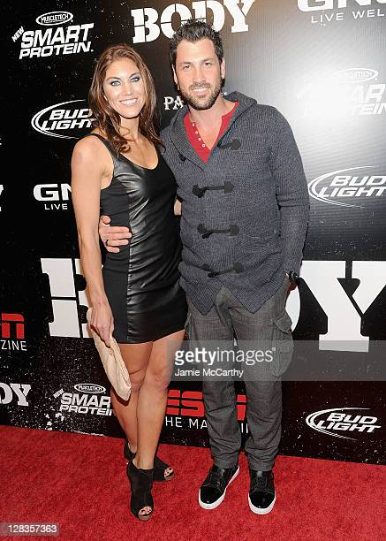 Hope Solo and Maksim Chmerkovskiy attend ESPN the Magazine's 3rd annual Body Issue party at Highline Stages on October 6 2011 in New York City
