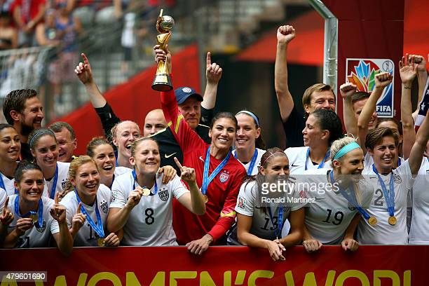 Hope Solo and the United States celebrates after winning the FIFA Women's World Cup Canada 2015 5-2 against Japan at BC Place Stadium on July 5, 2015...
