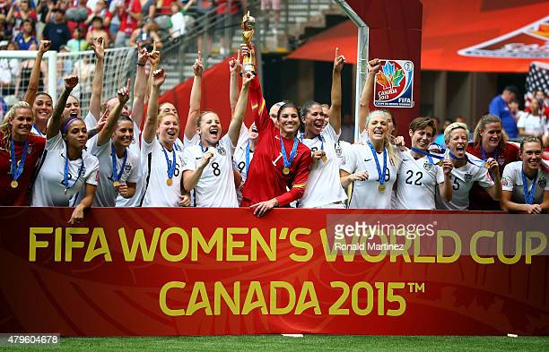 Hope Solo and the United States celebrates after winning the FIFA Women's World Cup Canada 2015 52 against Japan at BC Place Stadium on July 5 2015...