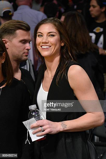Hope Solo attends a basketball game between the Houston Rockets and the Los Angeles Lakers at Staples Center on January 17 2016 in Los Angeles...