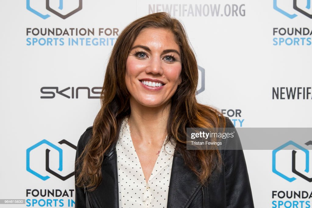 Hope Solo attends The Foundation For Sports Integrity (FFSI) inaugural 'Sports, Politics and Integrity Conference' at Four Seasons Hotel on May 31, 2018 in London, England.