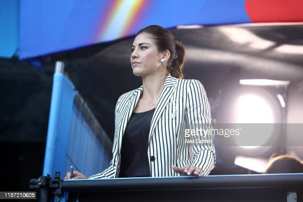 Hope Solo former USA player looks on during the 2019 FIFA Women's World Cup France group F match between Sweden and USA at Stade Oceane on June 20...