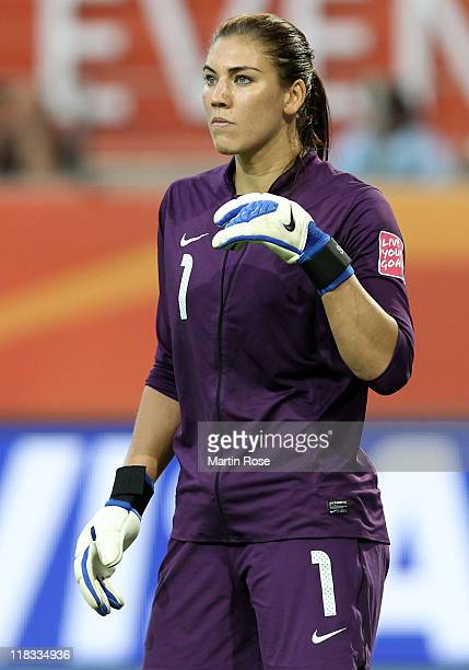 Hope Solo goalkeeper of USA looks on during the FIFA Women's World Cup 2011 Group C match between Sweden and USA at Wolfsburg Arena on July 6 2011 in...