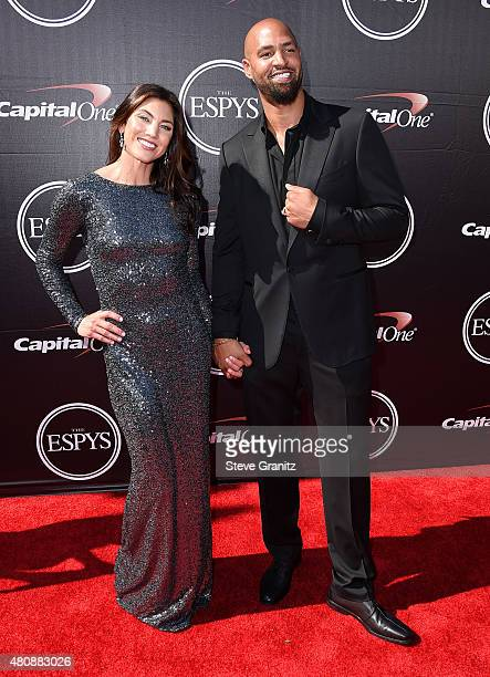 Hope Solo, Jerramy Stevens arrives at the The 2015 ESPYS at Microsoft Theater on July 15, 2015 in Los Angeles, California.