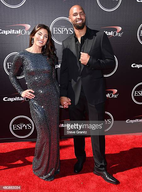 Hope Solo Jerramy Stevens arrives at the The 2015 ESPYS at Microsoft Theater on July 15 2015 in Los Angeles California