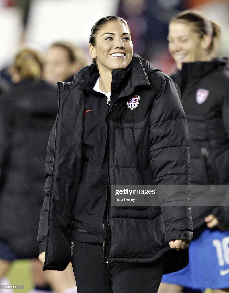 Hope Solo (1) leads her team off the field after defeating China at BBVA Compass Stadium on December 12, 2012 in Houston, Texas. USA won 4-0.