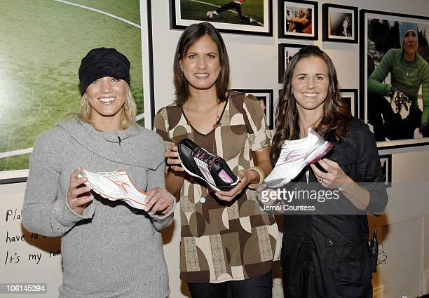 Hope Solo Logan Tom and Brandi Chastain with the new Nike Tailwind Shoes