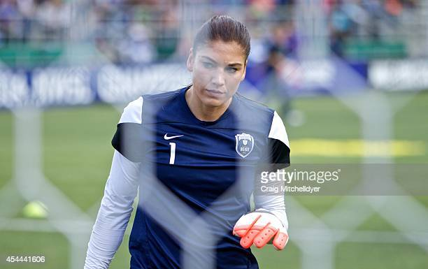 Hope Solo of Seattle Reign FC warms up before the National Women's Soccer League Championship on August 31 2014 at Starfire Stadium in Tukwila...