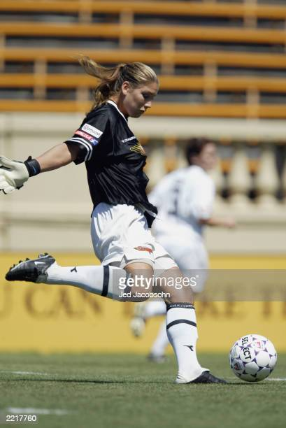 Hope Solo of the Philadelphia Charge kicks the ball against the San Jose Cyberrays during the WUSA game at Spartan Stadium on July 20 2003 in San...
