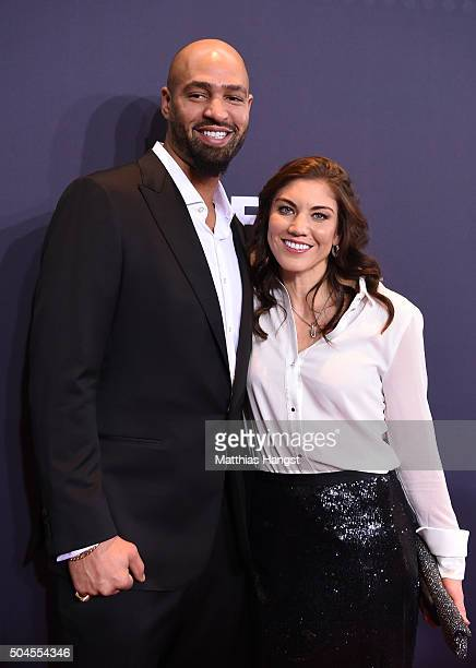 Hope Solo of the United States and Jerramy Stevens attend the FIFA Ballon d'Or Gala 2015 at the Kongresshaus on January 11 2016 in Zurich Switzerland