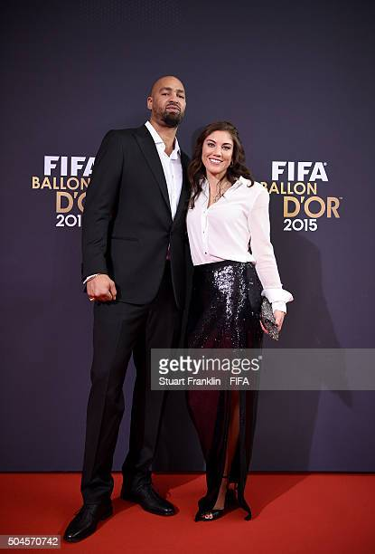 Hope Solo of the United States and Seattle Reign and Jerramy Stevens arrive for the FIFA Ballon d'Or Gala 2015 at the Kongresshaus on January 11 2016...