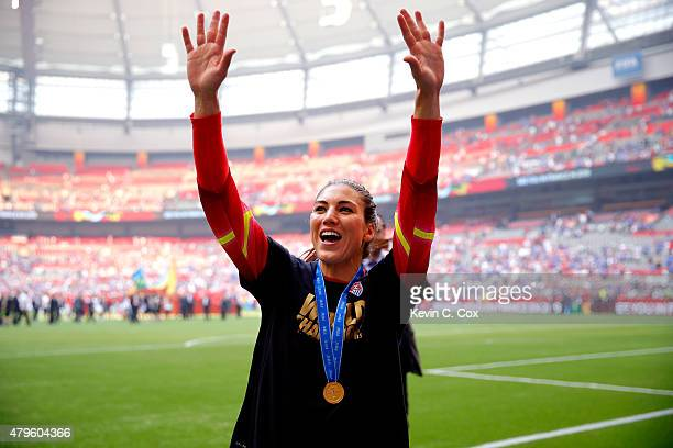 Hope Solo of the United States celebrates the 52 victory against Japan in the FIFA Women's World Cup Canada 2015 Final at BC Place Stadium on July 5...