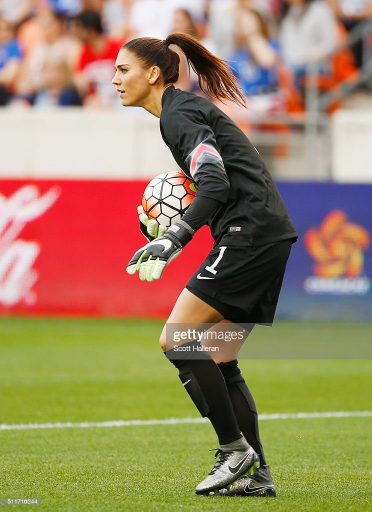 Hope Solo #1 of the United States in action during the first half of the game between the United States and Canada during the Championship final of the 2016 CONCACAF Women's Olympic Qualifying at BBVA Compass Stadium on February 21, 2016 in Houston, Texas.