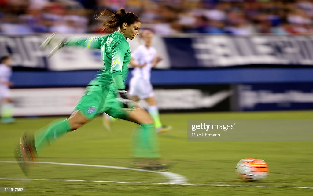 Hope Solo #1 of the United States kicks during a match against Germany in the 2016 SheBelieves Cup at FAU Stadium on March 9, 2016 in Boca Raton, Florida.